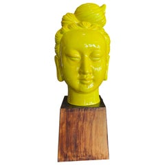 Chinese Ceramic 1950s Yellow Guan Yin Head on Stand
