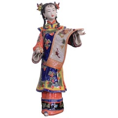 Chinese Ceramic Court Lady Statuette Hand-Crafted
