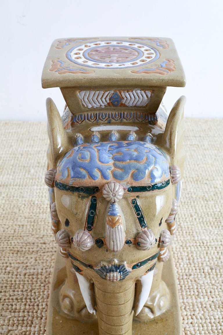 Chinese Ceramic Elephant Garden Stool or Drink Table For Sale 4
