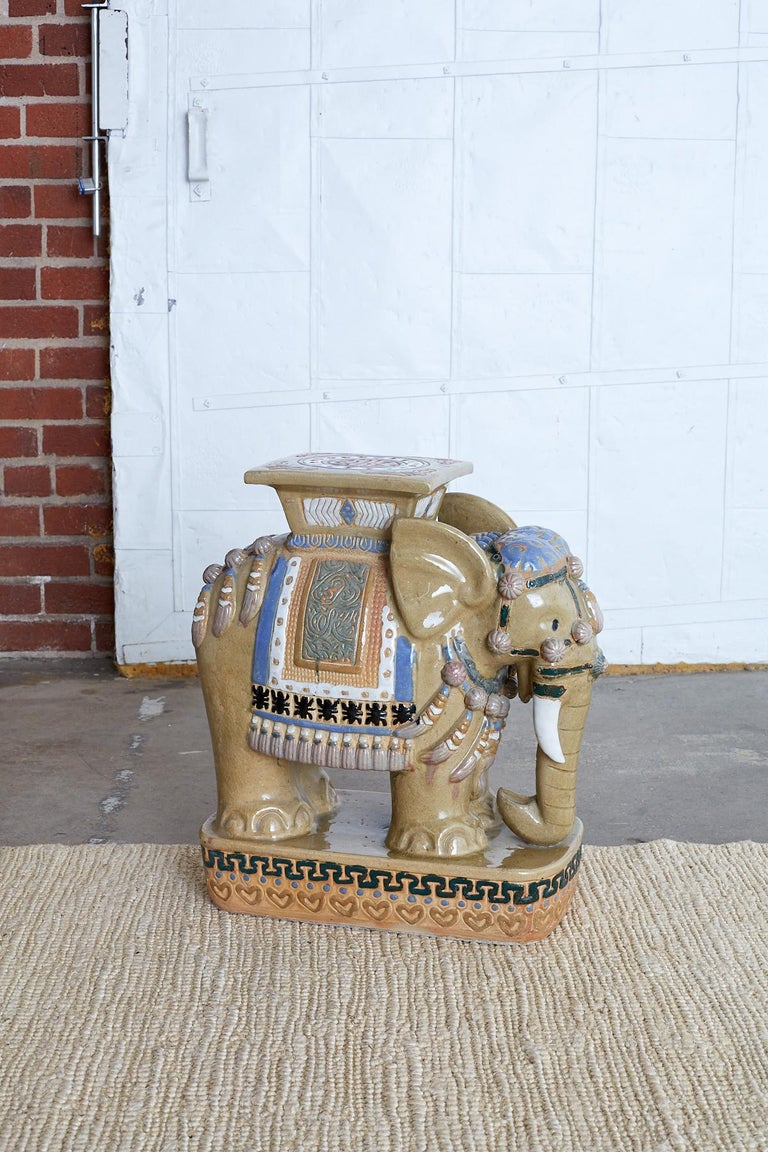 Chinese Ceramic Elephant Garden Stool or Drink Table For Sale 7