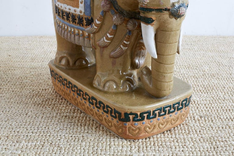 Mid-Century Modern Chinese Ceramic Elephant Garden Stool or Drink Table For Sale