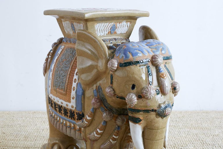 Hand-Painted Chinese Ceramic Elephant Garden Stool or Drink Table For Sale