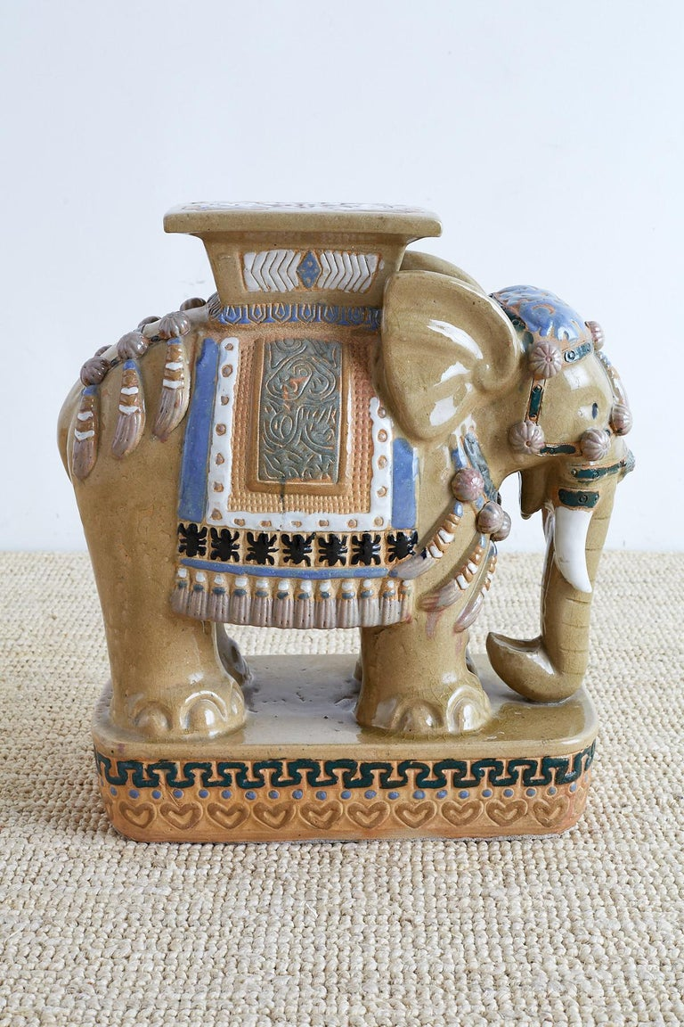 20th Century Chinese Ceramic Elephant Garden Stool or Drink Table For Sale