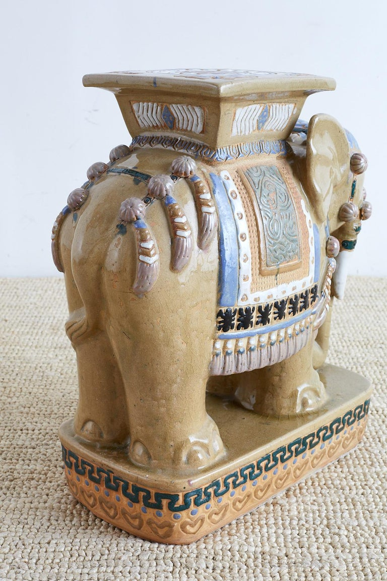 Chinese Ceramic Elephant Garden Stool or Drink Table For Sale 1