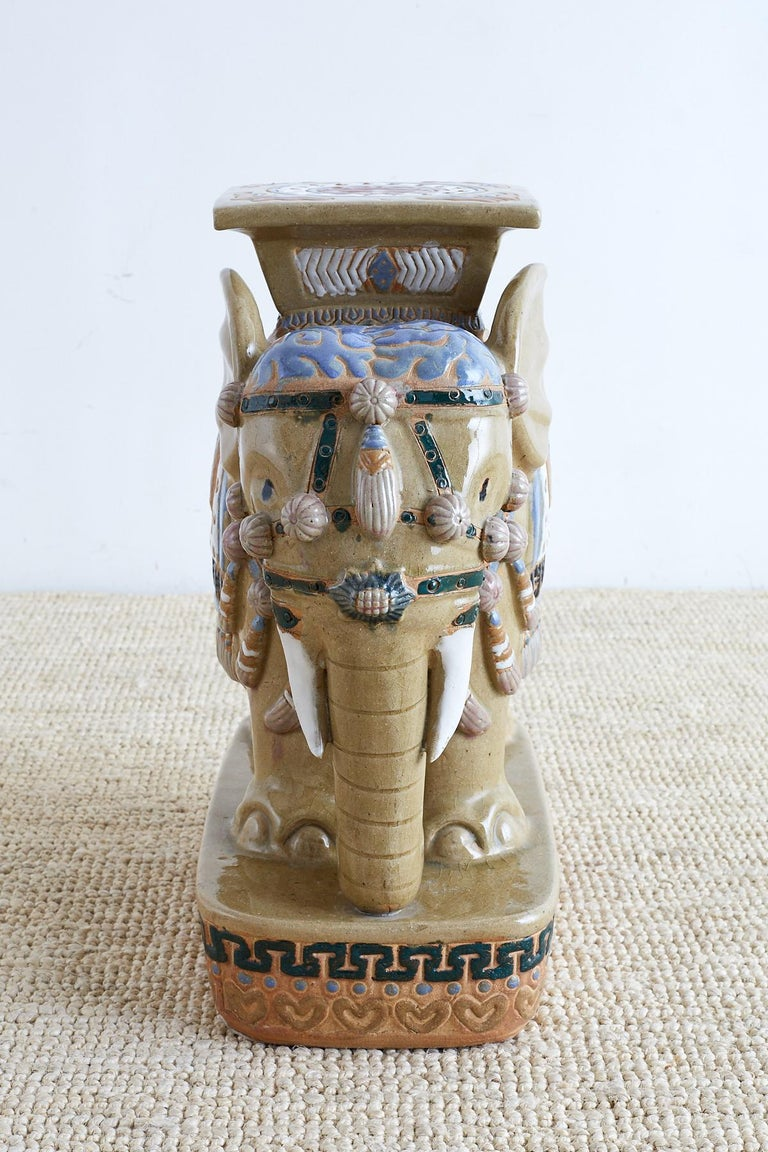 Chinese Ceramic Elephant Garden Stool or Drink Table For Sale 3