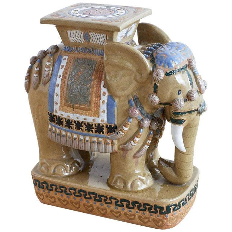 Chinese Ceramic Elephant Garden Stool or Drink Table For Sale