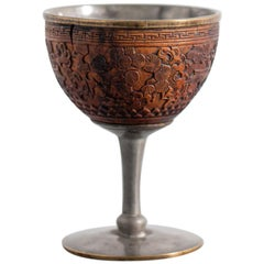 Chinese Chalice in Inlaid Coconut and Pewter, Marked, China Qing Dynasty