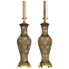 Chinese Champlevé, Cloisonné Lamps