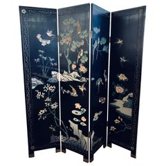 Chinese Chinoiserie Black Lacquer Four-Panel Folding Screen Room Divider