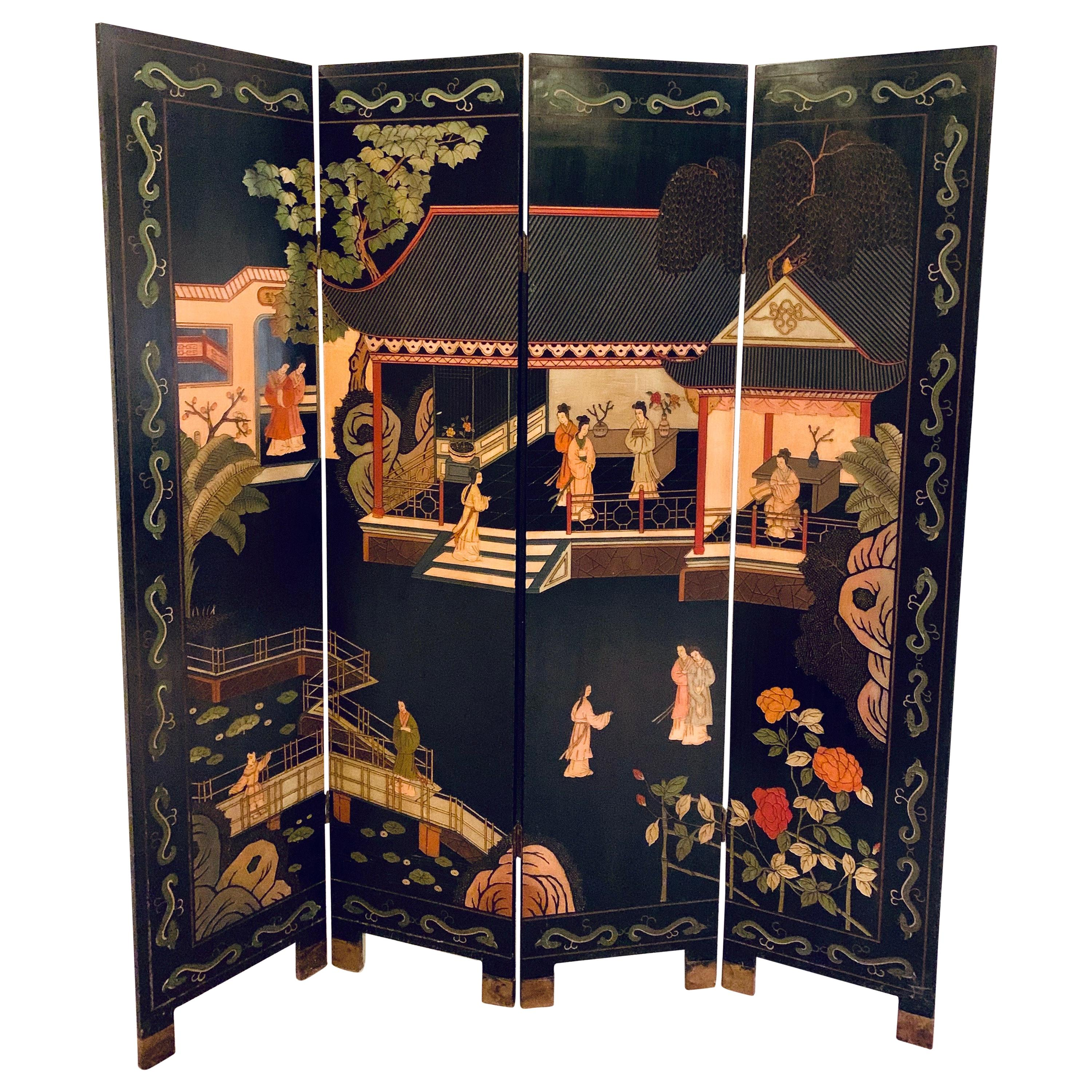 Chinese Chinoiserie Carved Expandable Four Panel Screen Room Divider