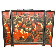 Chinese Chinoiserie Hand Painted Coromandel Screen Room Divider Painting Art