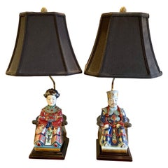Chinese Chinoiserie Porcelain Emperor and Empress Lamps
