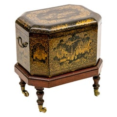 Chinese Chinoiserie Tea Caddy on Stand