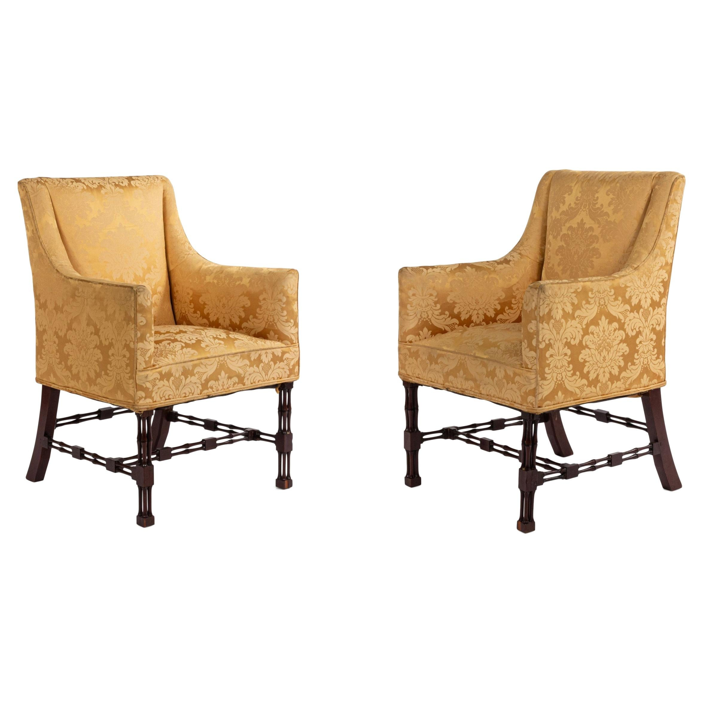 Chinese Chippendale Bergere Arm Chairs