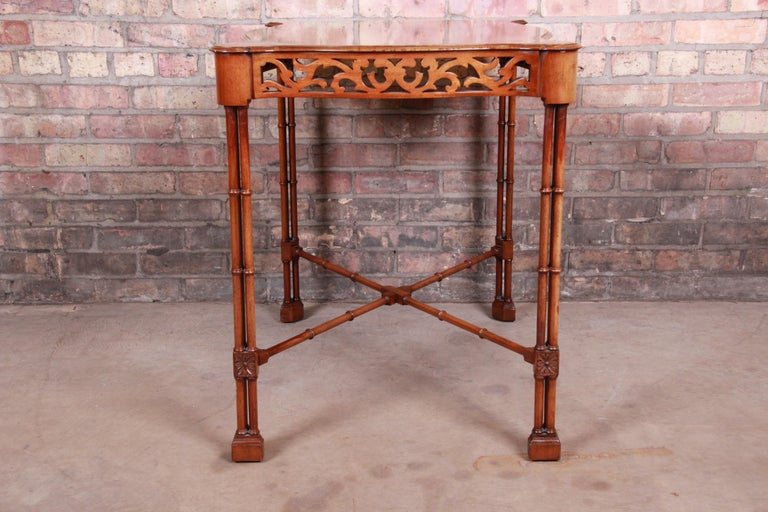 Chinese Chippendale Carved Mahogany Faux Bamboo Tea Table by Beacon Hill For Sale 5