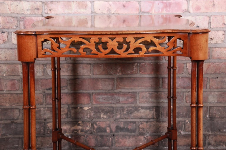 Chinese Chippendale Carved Mahogany Faux Bamboo Tea Table by Beacon Hill For Sale 6