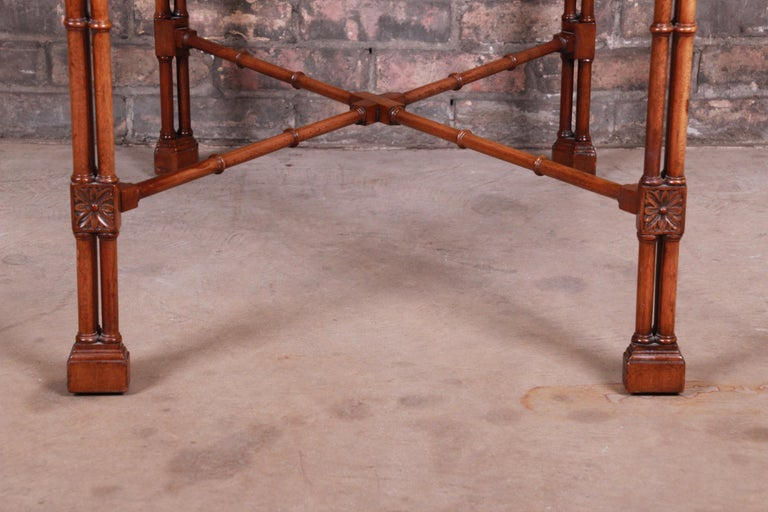 Chinese Chippendale Carved Mahogany Faux Bamboo Tea Table by Beacon Hill For Sale 7