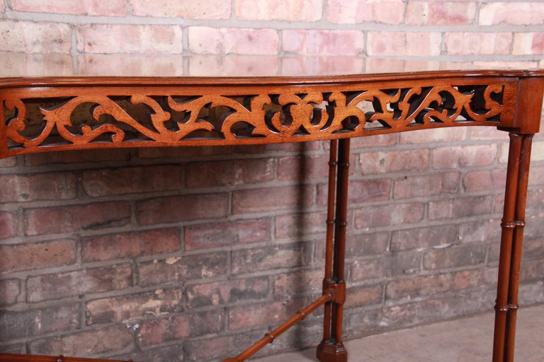 Chinese Chippendale Carved Mahogany Faux Bamboo Tea Table by Beacon Hill For Sale 2