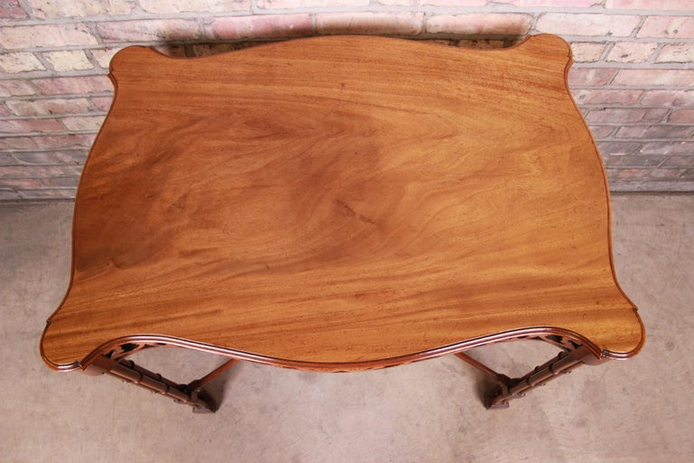 Chinese Chippendale Carved Mahogany Faux Bamboo Tea Table by Beacon Hill For Sale 3