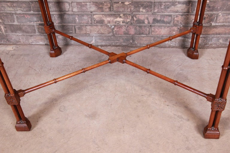 Chinese Chippendale Carved Mahogany Faux Bamboo Tea Table by Beacon Hill For Sale 4