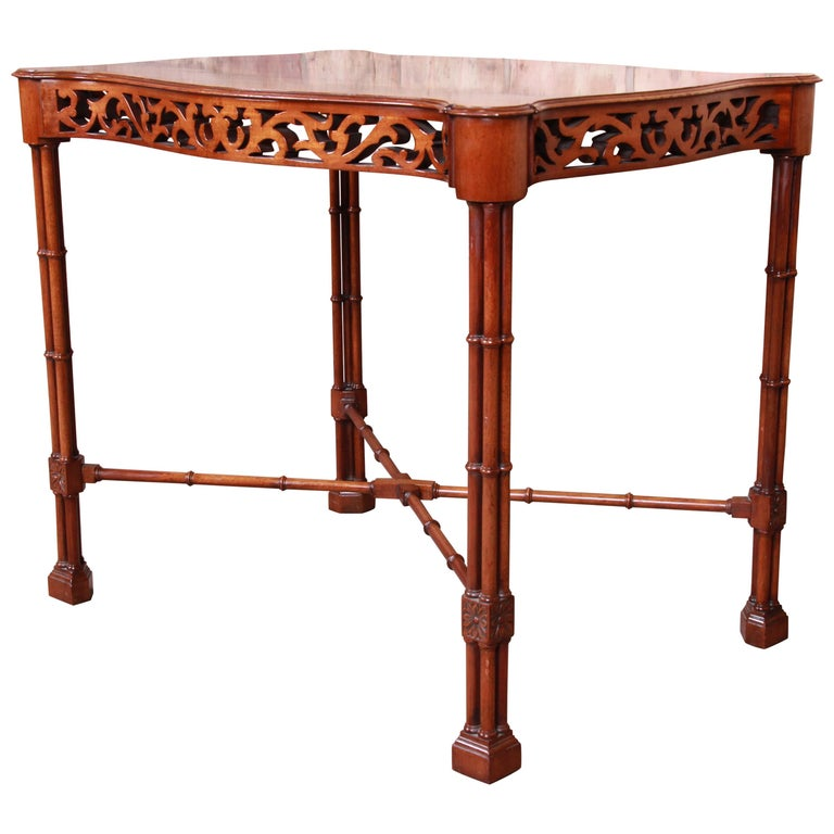 Chinese Chippendale Carved Mahogany Faux Bamboo Tea Table by Beacon Hill For Sale
