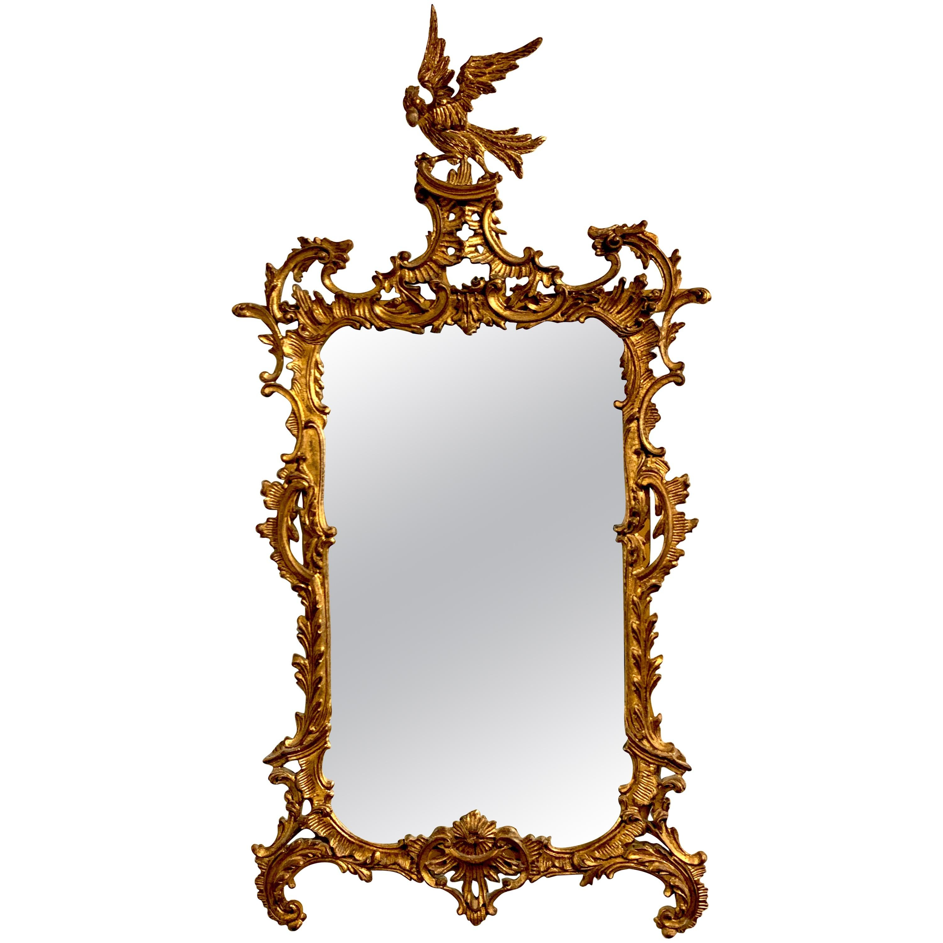 Chinese Chippendale or Chinoiserie Carved Giltwood Mirror