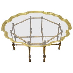 Chinese Chippendale Faux Bamboo Brass Scalloped Edge Tray Top Coffee Table