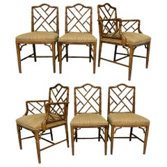 Chinese Chippendale Faux Bamboo Dining Chairs by Century, Set of 6