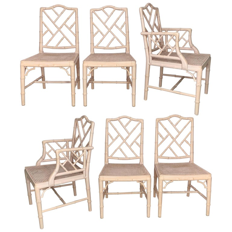 Chinese Chippendale Faux Bamboo Dining Chairs For Sale At 1stdibs