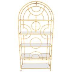 Hollywood Regency Chinese Chippendale Yellow Faux Bamboo Glass Shelf Étagère