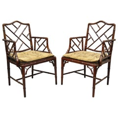 Chinese Chippendale Faux Bamboo Hollywood Regency Cane Armchairs 'A', a Pair