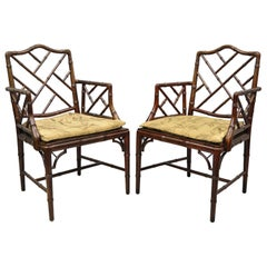 Chinese Chippendale Faux Bamboo Hollywood Regency Cane Armchairs 'B', a Pair