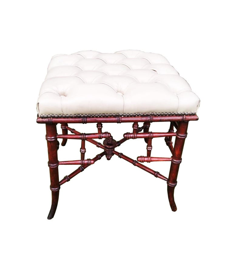 Chinese Chippendale Faux Bamboo Stool Whit Capitone For Sale 6