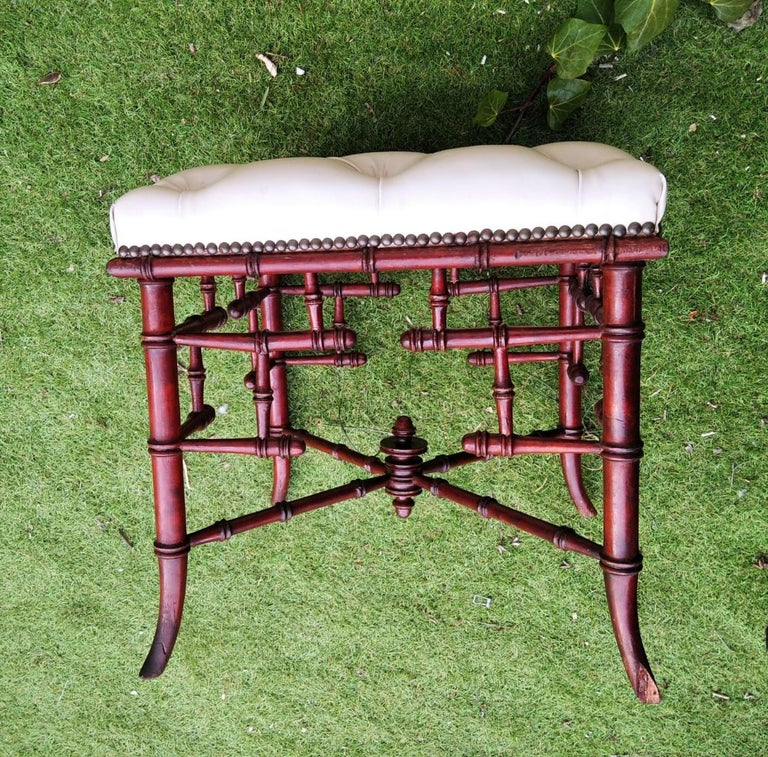 Chinese Chippendale Faux Bamboo Stool Whit Capitone For Sale 7
