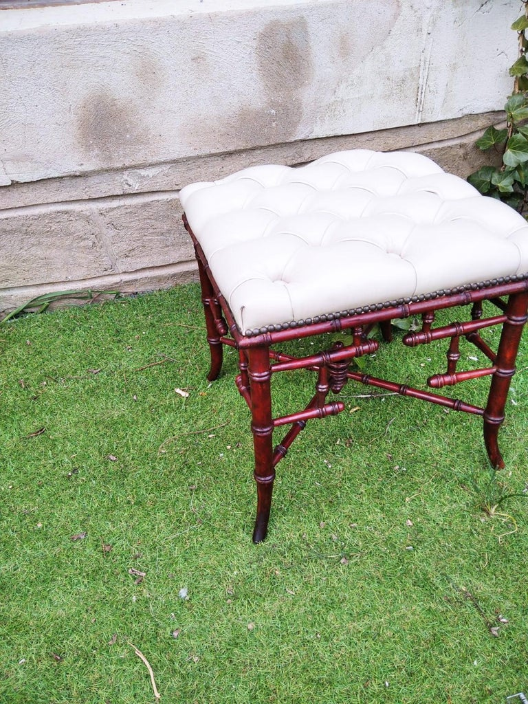 Chinese Chippendale Faux Bamboo Stool Whit Capitone For Sale 9