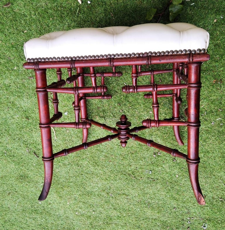 Wood Chinese Chippendale Faux Bamboo Stool Whit Capitone For Sale