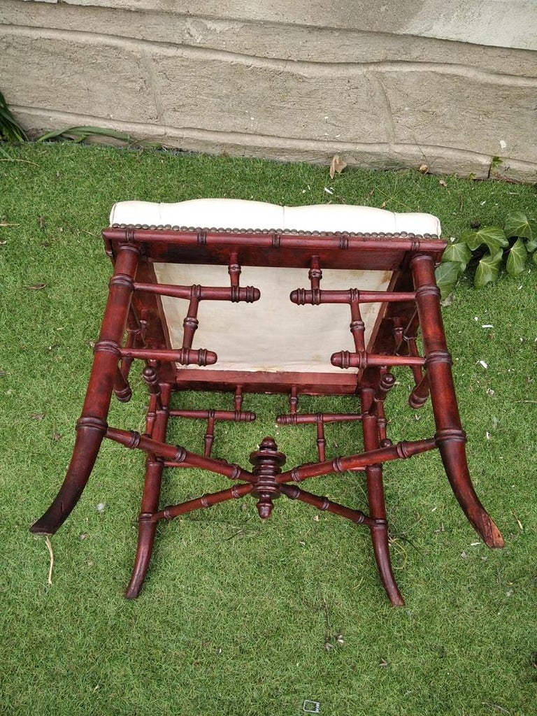 Chinese Chippendale Faux Bamboo Stool Whit Capitone For Sale 2