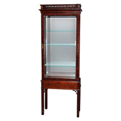 Chinese Chippendale Flame Mahogany Lighted & Mirrored Curio Vitrine 20th Century