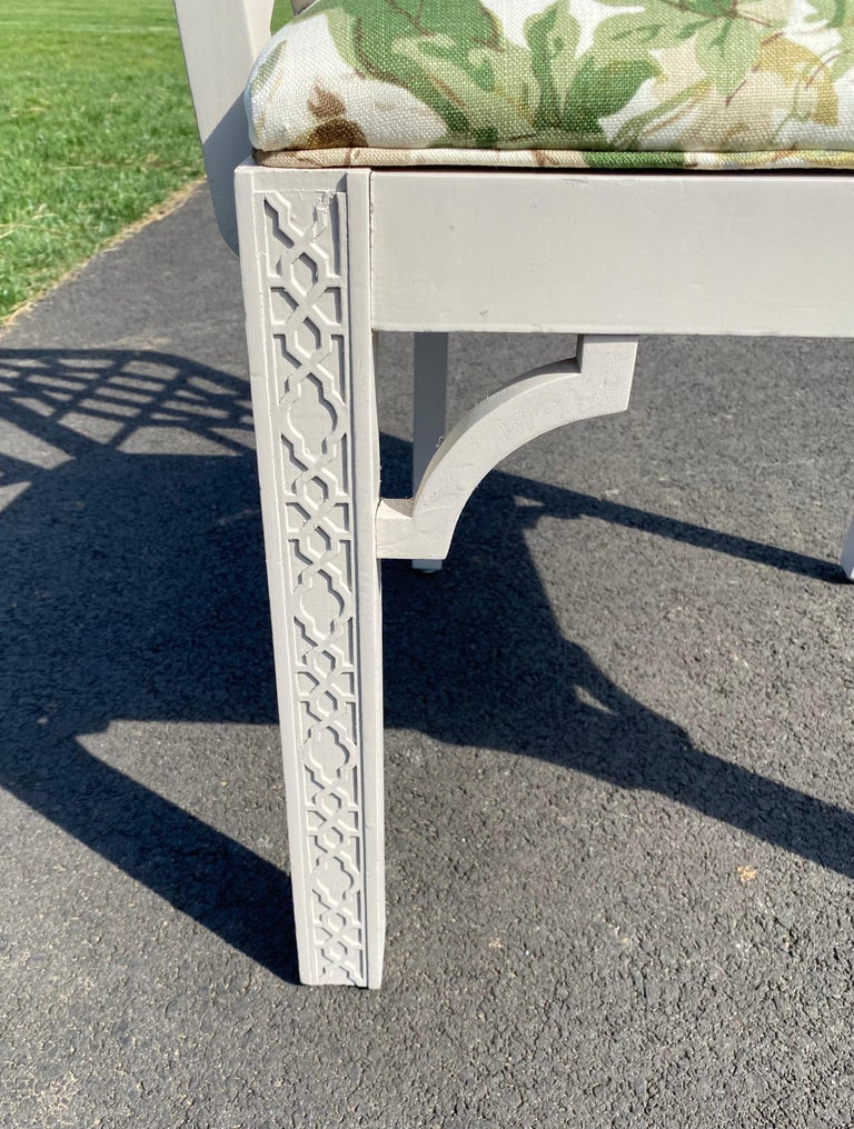 Hollywood Regency Fretwork Arm Chair with Parish Hadley Botanical Floral Fabric For Sale 4