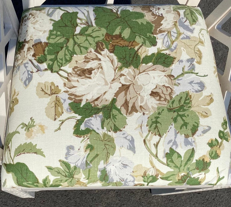Hollywood Regency Fretwork Arm Chair with Parish Hadley Botanical Floral Fabric For Sale 5