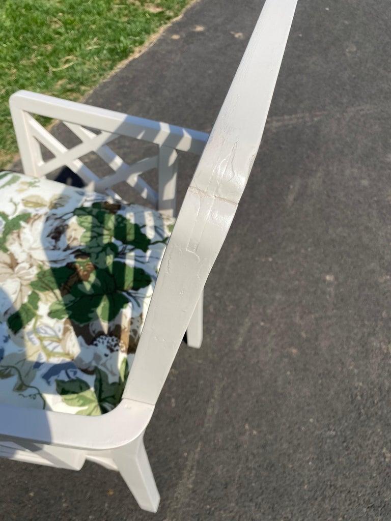 Hollywood Regency Fretwork Arm Chair with Parish Hadley Botanical Floral Fabric For Sale 6
