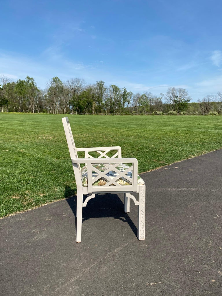 Hollywood Regency Fretwork Arm Chair with Parish Hadley Botanical Floral Fabric In Good Condition For Sale In Lambertville, NJ