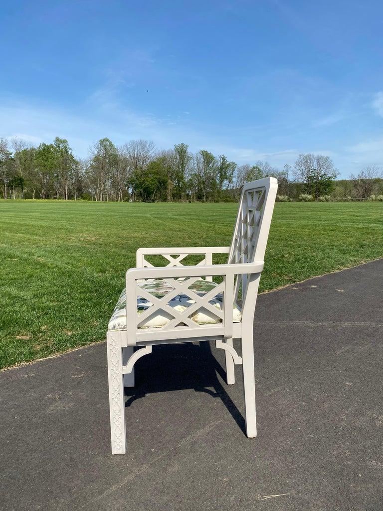 20th Century Hollywood Regency Fretwork Arm Chair with Parish Hadley Botanical Floral Fabric For Sale