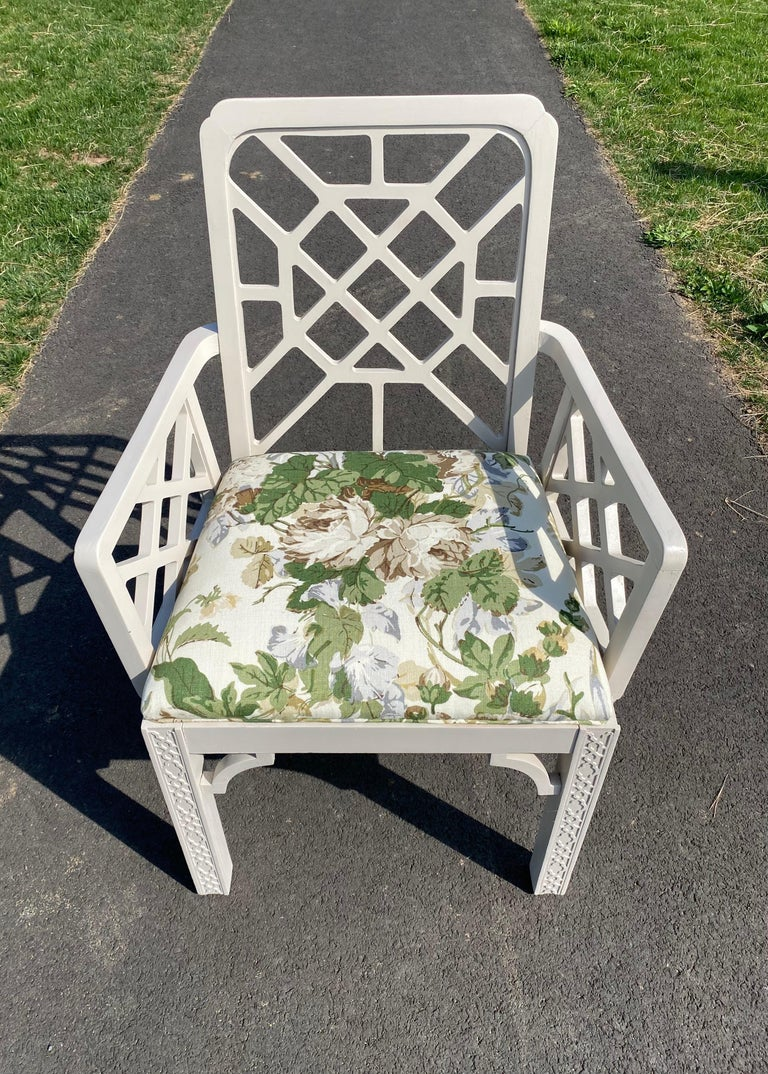 Upholstery Hollywood Regency Fretwork Arm Chair with Parish Hadley Botanical Floral Fabric For Sale