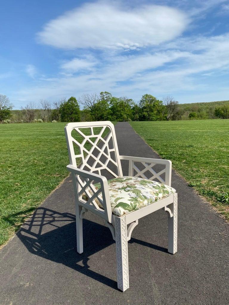 Hollywood Regency Fretwork Arm Chair with Parish Hadley Botanical Floral Fabric For Sale 1