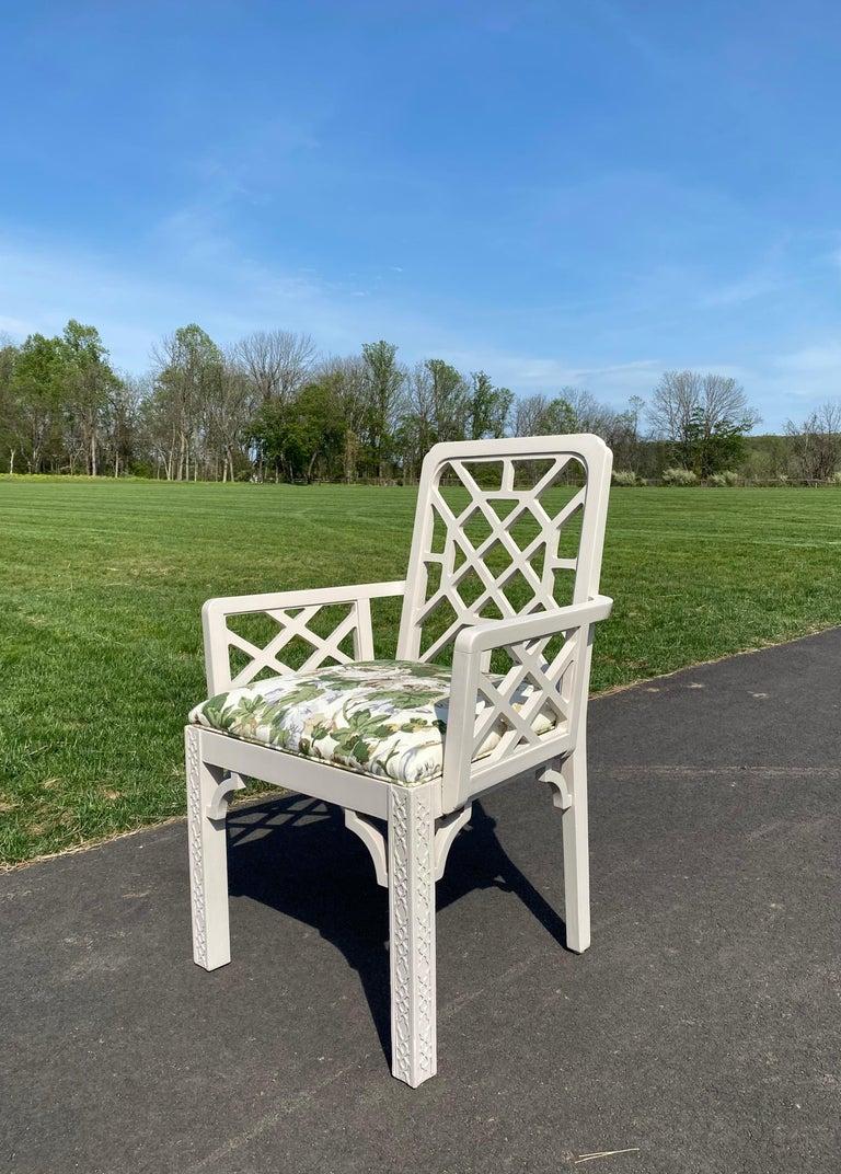 Hollywood Regency Fretwork Arm Chair with Parish Hadley Botanical Floral Fabric For Sale 2