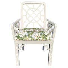 Hollywood Regency Fretwork Arm Chair with Parish Hadley Botanical Floral Fabric