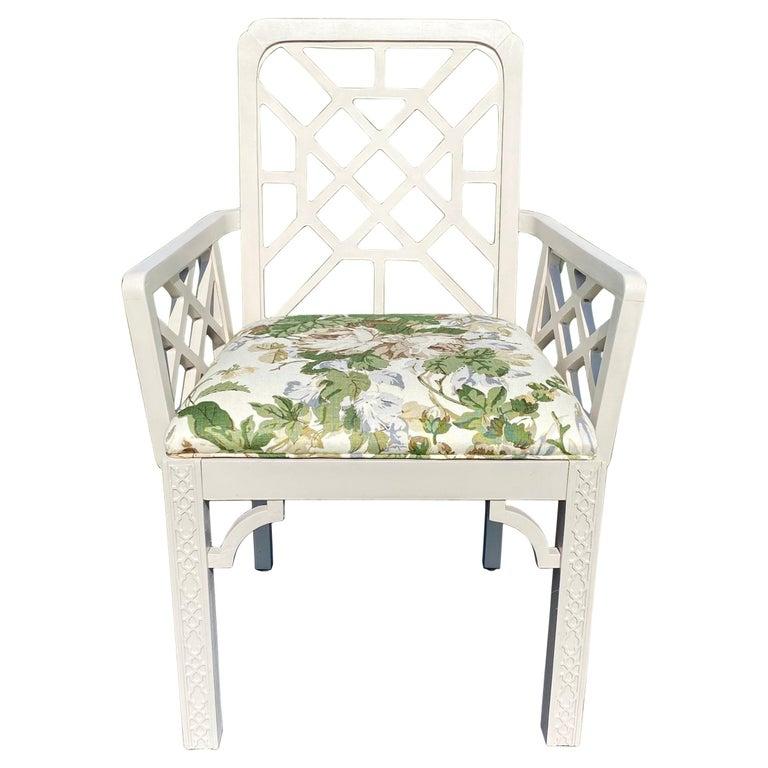 Hollywood Regency Fretwork Arm Chair with Parish Hadley Botanical Floral Fabric For Sale