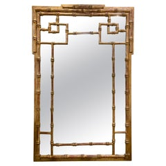 Chinese Chippendale Gilt Gold Wall Mirror Mid-Century Modern
