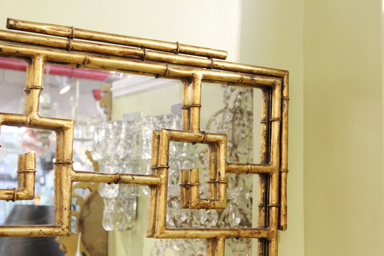 American Chinese Chippendale Gilt Metal Faux Bamboo Wall Mirror For Sale